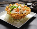 Sauteed Seafood in Basket